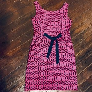 Lilly Pulitzer Dress Pockets Navy Blue W/Pink Lips